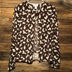 Loft Cardigan • Sz SMALL • Animal print • Brown